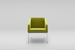 FIN armchair with armrests, metal base